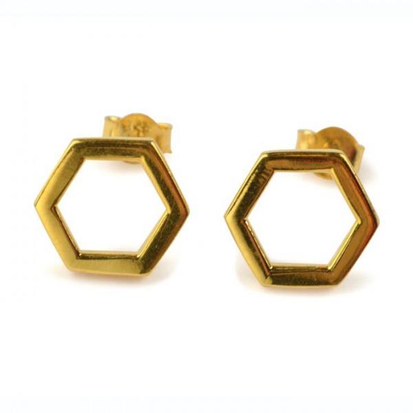 d439e28b Øredobber Hexagon gull - Syster P - Recreo.no - gaver på nett